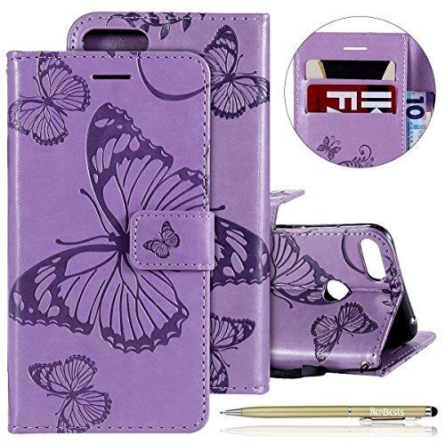 Herbests Leder Handy Schutzhülle für Huawei Honor 10 Lite Lederhülle Schmetterling Muster Leder Handyhülle Handytasche Brieftasche Ledertasche Bookstyle Flip Case Cover Klapphülle,lila