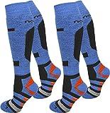normani 4 Paar Skisocken Ski Kniestrümpfe Spezielverstärkungen und Polster an Sohle Farbe RIPP/Blau/Orange Größe 39/42