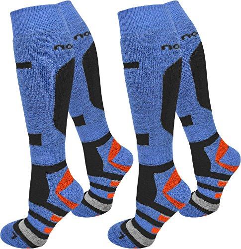 normani 2 Paar Skisocken/Ski-Kniestrümpfe mit Spezialpolsterung und Schafwollanteil Farbe Ripp/Blau/Orange Größe 39/42