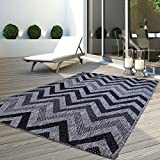 carpet city Teppich Flachflor Modern Outdoor Fest Geknüpft Outside Sunset Zick Zack Grau 160 x 230 cm