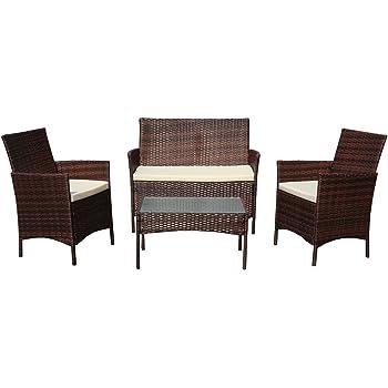 SVITA Gartenmöbel Poly Rattan Sitzgruppe Essgruppe Set Sofa Garnitur Lounge  Braun, Grau Oder Schwarz (Braun)