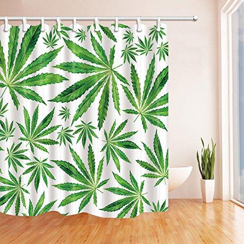 gohebe grün Decor Vorhänge Dusche von exotischen Pflanzen Blätter Masse der Cannabis Vector Hintergrund grün creme Bad Vorhänge 180,3x 180,3cm (Creme-dusche Vorhang Und Grün)