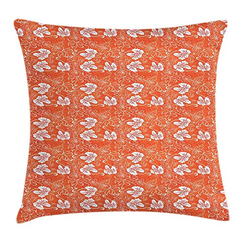 XIAOYI Burnt Orange Throw Pillow Cushion Cover, Hawaiian Hibiscus Pattern with Swirls and Curves on Background, Decorative Square Accent Pillow Case, 18 X 18 inches, Burnt Orange and White -