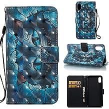 Para IPHONE X Móvil, Retro 3d patrón cuero PU Funda Wallet Case Carcasa en folio con función atril tarjetero y funda Flip Case–fundas (S)
