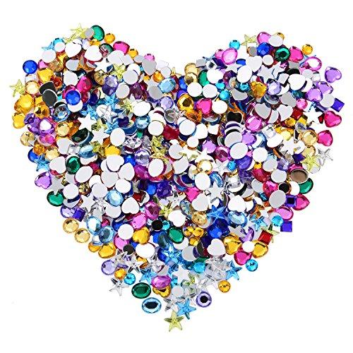 Blulu Flatback Strass Crystal en Forme d'Étoiles Cœurs et Rondes Pierres Précieuses Embellissements, Couleurs Assorties, 600 Pièces