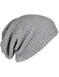Mens Cap - SODIAL(R) Mens Slouchy Long Beanie Knit Cap for Summer Winter Oversize gray