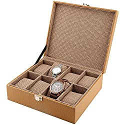 8-Slot PU Leather Designer Beige Watch Case Decorative Organizer Box