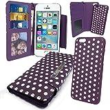 """Stylebitz / Etui portefeuille avec rabat magnétique détachable pour Apple iPhone 5S / 5, motif """"polka"""", livré avec chiffon de nettoyage (violet & blanc)"""