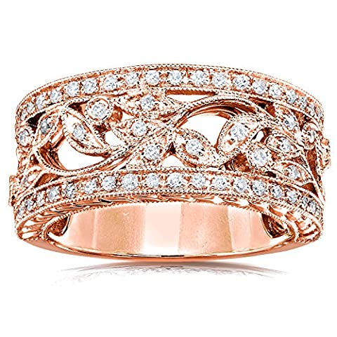 Vintage Style Diamant Fashion Floral Band 1/4 Karat (ctw) in 14 K Rose Gold _ 10,5