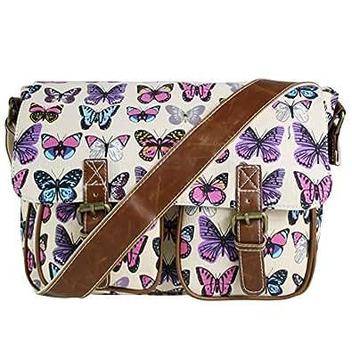 Miss Lulu Womens Canvas Satchel Bag Butterfly Beige