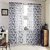 Kinlo®Vorhang blickdicht schals pflegeleicht aus Beflockung Peony 1 Stücke gardine für Wohnzimmer in schwarz