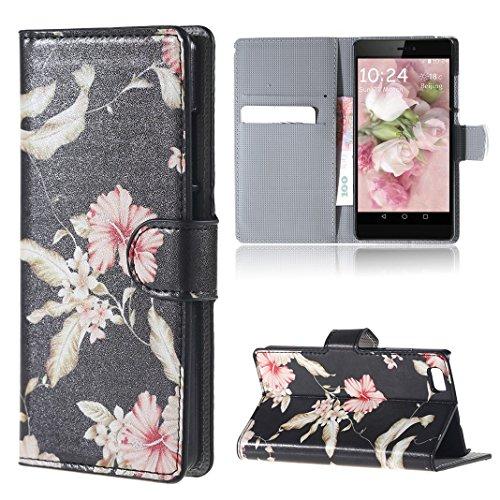 Moon mood® Pelle PU Custodia Protettiva Per Huawei P8 Lite (5.0 inch) Duro PC Scheda (Foglia Telefono)