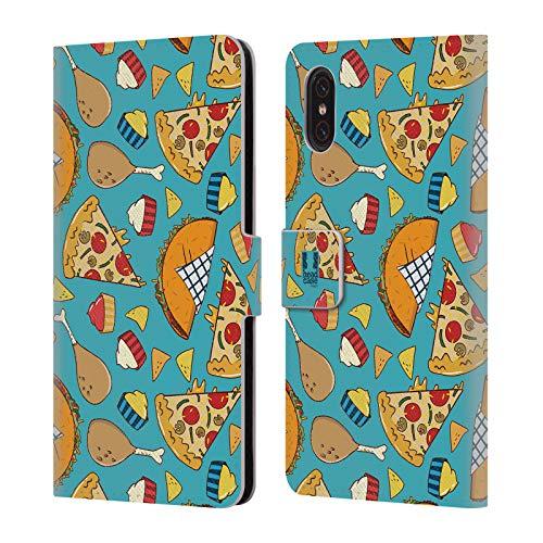 Head Case Designs Pizza Und Taco Fast Food Muster Brieftasche Handyhülle aus Leder für Xiaomi Mi 8 Pro Food Network-pizza