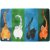 WOOD MEETS COLOR Creativo felpudos Durable de Felpa Alfombra de casa 15,7 (W) X 26,6 (L) Pulgadas (4 Gatos 40 * 60)