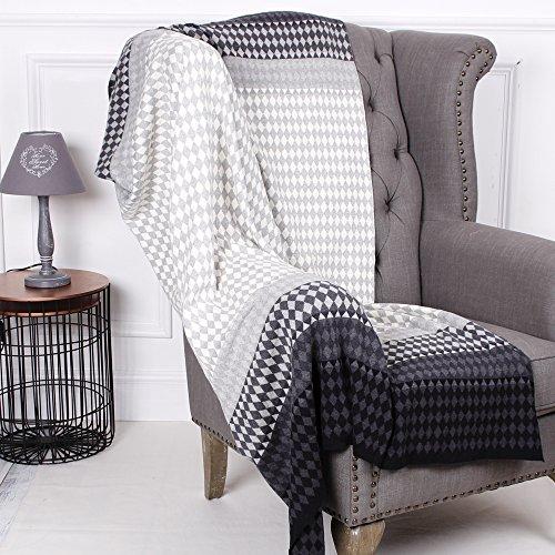 Luxuriöse 100% Baumwolle Weiß, Schwarz und Grau Geometrische Decke/Überwurf–Perfekt für Komplimente jedes vorhandene Home Decor–160x 130cm