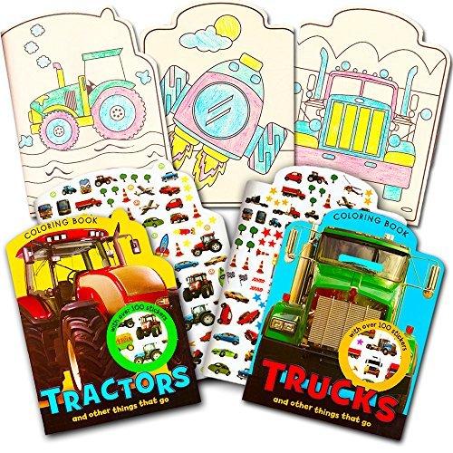 Cars and Trucks Malbuch-Set für Kleinkinder, 2 Bücher und über 200 Aufkleber (Traktoren, Feuerwehrwagen, Züge und andere Dinge, die gehen)