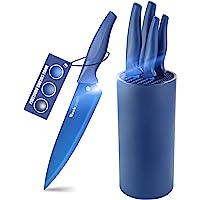 Wanbasion Bleu Set Couteaux de Cuisine avec Bloc, Set Couteaux de Cuisine en Acier Inoxydable, Bloc Couteaux Cuisine…