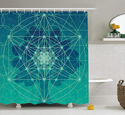 JIEKEIO Sacred Geometry Shower Curtain, Digital Futuristic Tree of Life with Space Plains Archaic Pattern, Fabric Bathroom Decor Set with Hooks, 60 * 72inch Extra Wide, Petrol Blue Green -