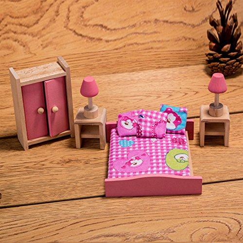 HorBous Puppenhausmöbel Set Holz Puppenhaus Kinderzimmer Badezimmer Schlafzimmer Wohnzimmer Küche Miniatur Möbel Zubehör Puppenhausmöbel Holz (Schlafzimmer) - Möbel Miniaturen Puppenhaus