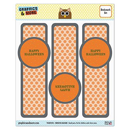 Set von 3glanzfolienkaschiert Lesezeichen–Halloween Fall Ernte Thanksgiving Confetti Dots Happy Halloween (Halloween-lesezeichen Happy)