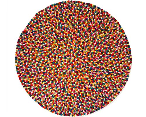 Alisha: rund Pinocchio Filzkugelteppich Mehrfarben Runde in alle Größen (freier Versand) (100cm / 3' 3'')