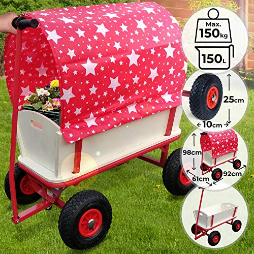 Jago Bollerwagen - 4 Räder, mit Dach, Holz, max. 150kg, 92x61x98cm, Rot mit Sterne - Handwagen, Gartenanhänger Gartenwagen, Transportwagen, Strandwagen