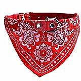 UEETEK Halsband mit Tuch verstellbare Bandana Hals Tuch für Hunde Katze - Größe L (rot)