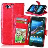 JIALUN-Fall für Sony Sony Z1 Compact Premium PU Leder Tasche, Flip Wallet Case Silikon Abdeckung Volltonfarbe Cover für Sony Z1 Compact Z1 MINI Einfach und stilvoll ( Color : Red , Size : Sony Z1 Compact )