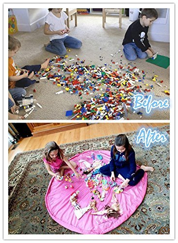 fulla2116grande 59pulgadas bebé Kids Play alfombrilla de suelo (interiores y exteriores juguete bolsa de almacenamiento organizador, rosa