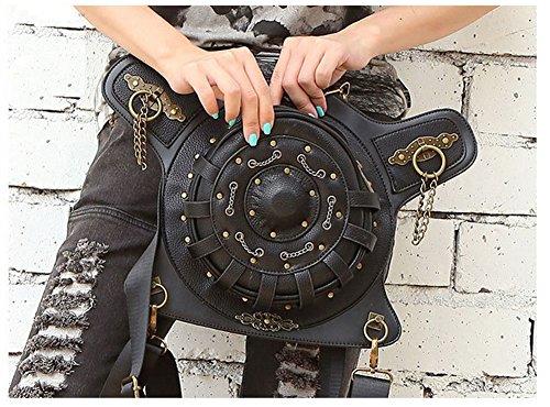 henmerry Rock Vintage gotico Steampunk borsa borsa a tracolla portamonete, donna Uomo, Red Black4