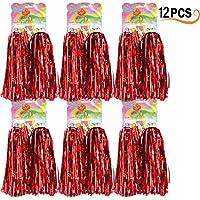 Hatisan-Pro 12 Piezas de Pompones de Animadora Bola de Flor Pompones Cheerleader Pompoms(Rojo)