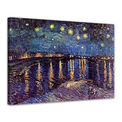 Bilderdepot24 Leinwandbild - Vincent Van Gogh - Sternennacht über der Rhône - 80x60cm einteilig - Alte Meister - Kunstdruck - Leinwandbilder - Bild auf Leinwand