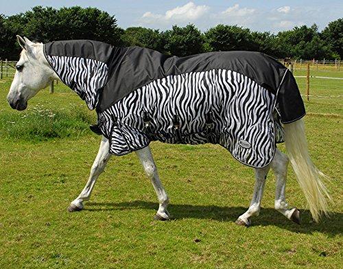 Rhinegold Masai kombiniert Pferd oder Pony Fliegendecke mit zusätzlichen Wahlbeteiligung Schutz Zebra Design alle Größen 175 cm - Klappe Zebra