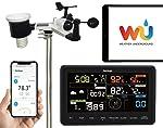 sainlogic Professionelle Funk Wetterstation - 10 in 1 WiFi Internet WLAN Wetterstation mit Außensensor, Regenmesser...