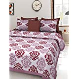Jivika Enterprises 100% Pure Cotton Brown Print King Size Double Bedsheet With 2 Pillow Covers