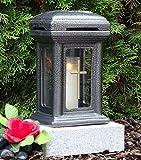 ♥ Grablampe mit Sockel und Grabkerze Keramik Silber Glas Kreuz Rose Grabdekoration Grablaterne Grablicht Grabschmuck Grableuchte Laterne Lampensockel Herz