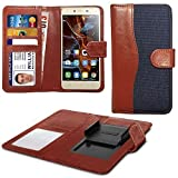 N4U Online� Blue Clip On Dual Fibre Book Wallet Case Cover For Microsoft Lumia 640 XL LTE