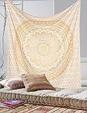 Exclusive Gold Ombre Mandala Tapisserie von labhanshi, Boho Wall Wandteppiche, Queen zum Aufhängen