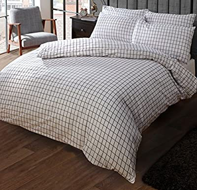 Louisiana Bedding Check Navy & White Duvet Cover Set 100% Cotton 200 Thread Count, Single Double King SuperKing - low-cost UK light store.