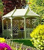G&C Breite Winchester - achteckiger Holzpavillon mit Boden, Balustraden und Rankgittern - Maße: 365 cm x 270 cm x h 310 cm