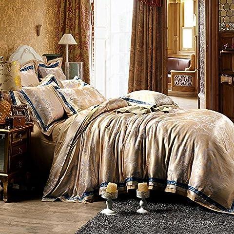 RongYao Più colori - stile europeo 100% cotone Jacquard Duvet Cover Set 4 Pieces(1-Duvet Covers 1-Flat sheets 2-Pillowcases), brown,