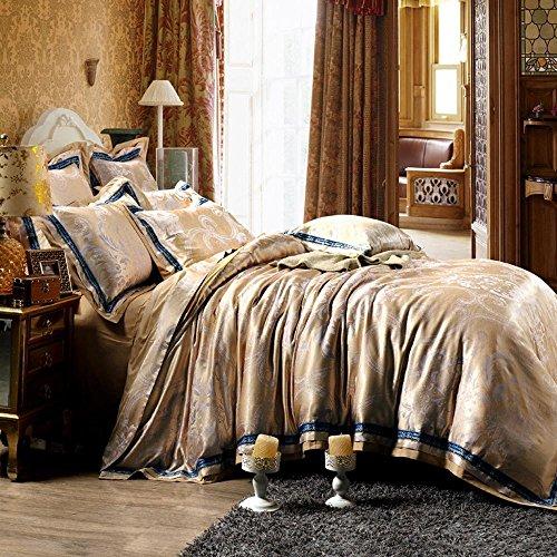 wangzhe Più colori - stile europeo 100% cotone Jacquard Duvet Cover Set 4 Pieces(1-Duvet Covers 1-Flat sheets 2-Pillowcases), brown,