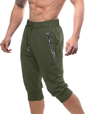 Bnokifin Men's 3/4 Cotton Joggers Shorts Slim Fit Long Shorts Gym Shorts with Zipper Pockets