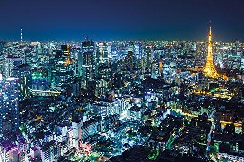 Papel pintado fotográfico que muestra la panorámica de los rascacielo s de Tokio de noche – imagen mural de Tokio de noche – decoration mural XXL del Skyline de Tokio by GREAT ART (210 x 140 cm)