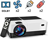 2500 Lumens LCD LED Portable Home Theater Video Projector, 40000+ Hours Support HD 1080P for Outdoor Movie Night, Family, Com