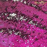 ShinyBeauty Fuchsia&silber Pailletten Stoff durch den Hof Meerjungfrau Fisch Skala Pailletten Stoff hochklappen Two Way Stretch Spandex-Stoff für DIY-Brautkleid Prom Abendkleid Custume