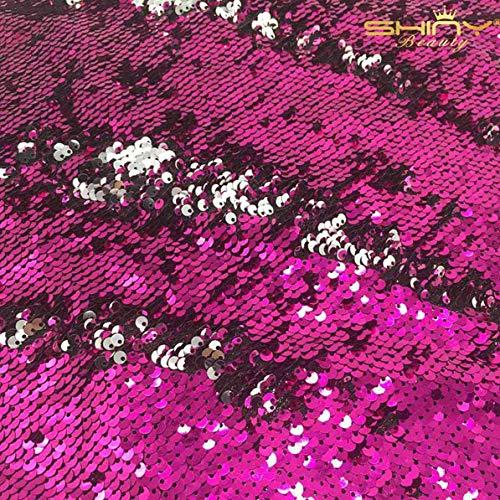 ShinyBeauty Fuchsia&silber Pailletten Stoff durch den Hof Meerjungfrau Fisch Skala Pailletten Stoff hochklappen Two Way Stretch Spandex-Stoff für DIY-Brautkleid Prom Abendkleid Custume -