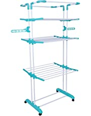 Bathla Mobidry Giga - Extra-Large, 4-Level Foldable Cloth Drying Stand with Wheels & Hanger Holder