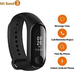 Polsino Xiaomi Mi Band 3, Touch screen OLED da 0,78 pollici, Monitor della frequenza cardiaca Tracker di fitness, Sveglia, iPhone Android Smartphone Promemoria