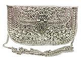 Embragues de metal blanco Monedero de latón hecho a mano de la vendimia Bolso de embrague de la mano para el embrague del partido de las mujeres Color de plata antiguo
